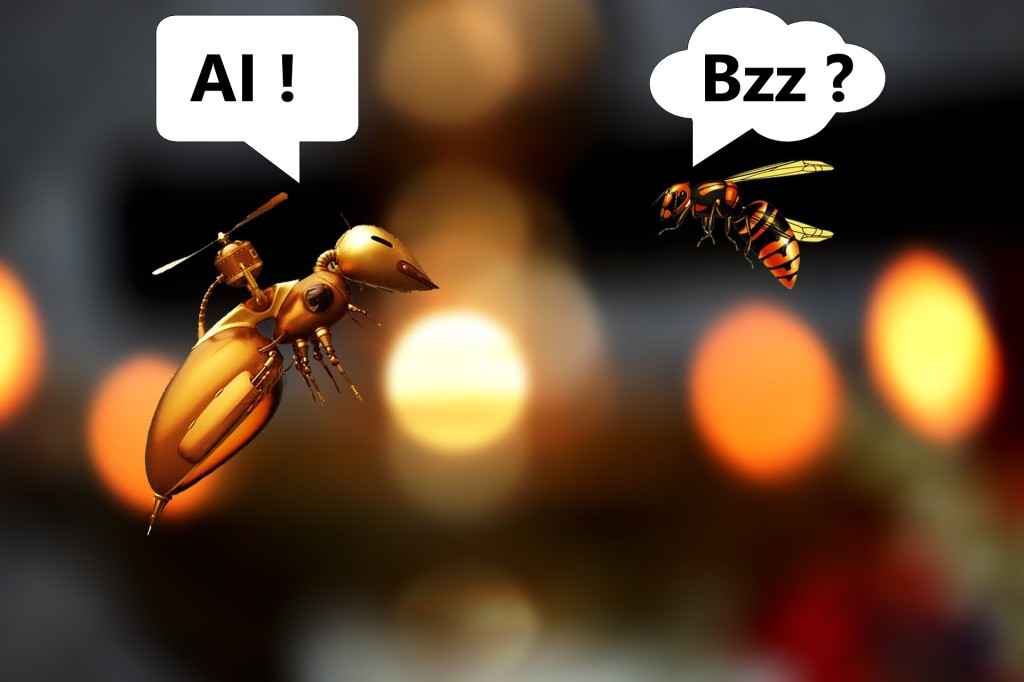 One mechanical bee talking (artificial intelligence language) to traditional bee.