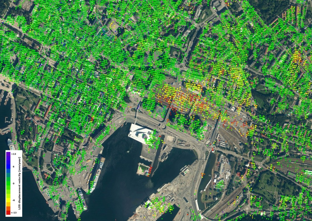 Satellite image Oslo port and railway